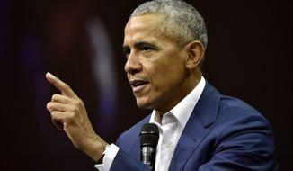 Former U.S. President Barack Obama, attends the Nordic Business Forum business seminar in Helsinki, Finland, on Thursday Sept. 27, 2018. (Jussi Nukari/Lehtikuva via AP)