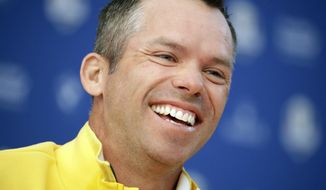 Europe's Paul Casey smiles during a press conference ahead of the Ryder Cup at Le Golf National in Saint-Quentin-en-Yvelines, outside Paris, France, Thursday, Sept. 27, 2018. The 42nd Ryder Cup will be held in France from Sept. 28-30, 2018 at Le Golf National. (AP Photo/Matt Dunham)