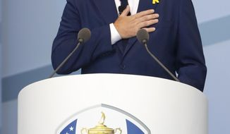 Europe team captain Thomas Bjorn speaks during the opening ceremony of the Ryder Cup at Le Golf National in Saint-Quentin-en-Yvelines, outside Paris, France, Thursday, Sept. 27, 2018. The 42nd Ryder Cup will be held in France from Sept. 28-30, 2018 at Le Golf National. (AP Photo/Alastair Grant)
