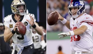 FILE - At left, in a Sept. 23, 2018, file photo, New Orleans Saints quarterback Drew Brees (9) works against the Atlanta Falcons during the first half of an NFL football game, in Atlanta. At right, in an Aug. 24, 2018, file photo, New York Giants quarterback Eli Manning (10) looks to pass against the New York Jets during the first half  of an NFL football game, in East Rutherford, N.J. The Saints play at the Giants on Sunday, Sept. 30. (AP Photo/File)