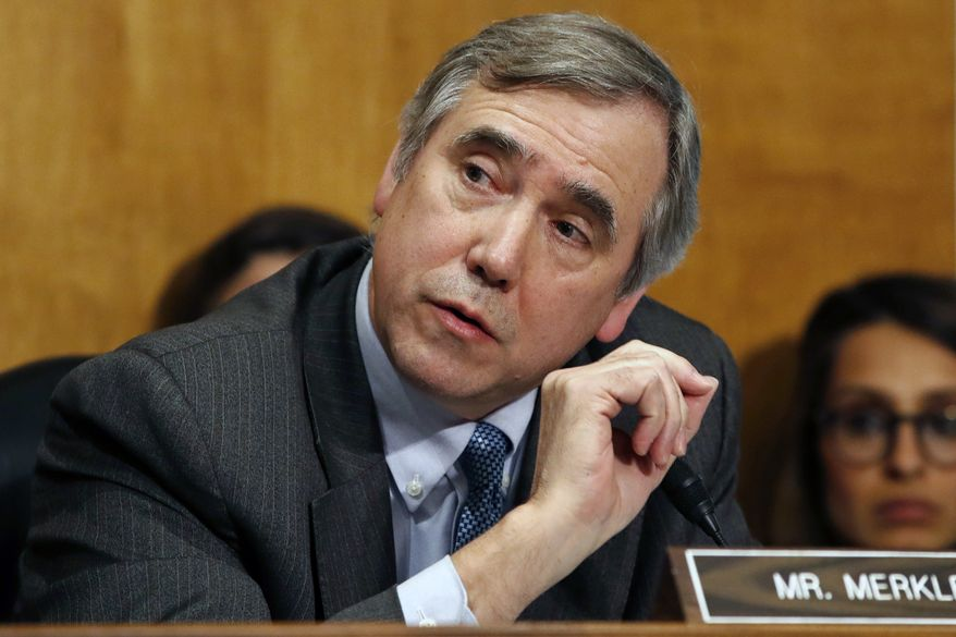 In this April 12, 2018, photo, Sen. Jeff Merkley, D-Ore., questions Secretary of State-designate Mike Pompeo during a Senate Foreign Relations Committee confirmation hearing on Capitol Hill in Washington. A lawsuit filed by Merkley aiming to compel the Trump administration to release 100,000 pages of documents on Supreme Court nominee Brett Kavanaugh is inching forward in federal court, with an Obama nominee assigned to hear it. (AP Photo/Jacquelyn Martin) **FILE**