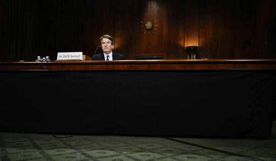 Supreme Court nominee Judge Brett Kavanaugh at a Senate Judiciary Committee hearing, Thursday, Sept. 27, 2018 on Capitol Hill in Washington. (Photo by Melina Mara/The Washington Post via AP, Pool)