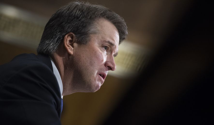Judge Brett Kavanaugh testifies Sept. 27 during the Senate Judiciary Committee hearing on his nomination be an associate justice of the Supreme Court of the United States, focusing on allegations of sexual assault by Kavanaugh against Christine Blasey Ford in the early 1980s. (Tom Williams/Pool Photo via AP)