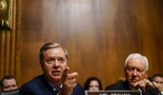 Sen. Lindsey Graham, R-S.C., talks during a hearing with Supreme Court nominee Judge Brett M. Kavanaugh with the Senate Judiciary Committee,  Thursday, Sept. 27, 2018 on Capitol Hill. (Melina Mara/The Washington Post via AP, Pool)
