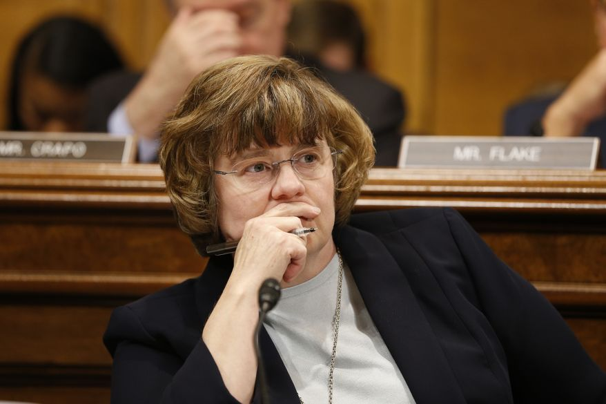 Rachel Mitchell listens to Dr. Christine Blasey Ford at the Senate Judiciary Committee hearing on the nomination of Brett Kavanaugh to be an associate justice of the Supreme Court of the United States, on Capitol Hill in Washington, DC, USA, 27 September 2018. US President Donald J. Trump's nominee to be a US Supreme Court associate justice Brett Kavanaugh is in a tumultuous confirmation process as multiple women have accused Kavanaugh of sexual misconduct.  (Michael Reynolds/Pool Photo via AP)