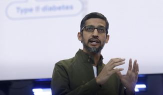 FILE- In this May 8, 2018, file photo, Google CEO Sundar Pichai speaks at the Google I/O conference in Mountain View, Calif.  Pichai is scheduled to meet privately with members of Congress Friday, Sept. 28, after he and his boss, Google co-founder Larry Page, stood up lawmakers at a public hearing earlier this month. The closed-door gathering is expected to include discussions about President Donald Trump's recent allegations that Google has been rigging the results of its influential search engine to suppress conservative viewpoints. Google has denied any political bias. (AP Photo/Jeff Chiu, File)