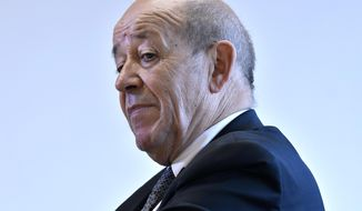 French Foreign Affairs Minister Jean-Yves Le Drian during an interview at the Kennedy School of Government at Harvard University in Cambridge, Mass on Friday, Sept. 28, 2018. Le Drian said France's leaders are proposing a new international coalition to revive global cooperation that they say is being threatened by countries like the United States and Russia. (AP Photo/Josh Reynolds)