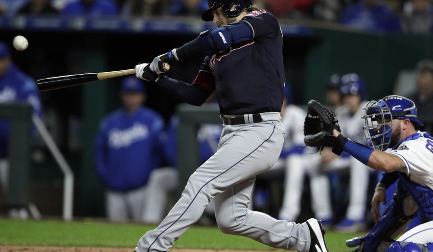 Cleveland Indians' Josh Donaldson hits a grand slam off Kansas City Royals relief pitcher Jake Newberry during the seventh inning of a baseball game at Kauffman Stadium in Kansas City, Mo., Friday, Sept. 28, 2018. (AP Photo/Orlin Wagner)
