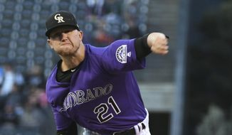 Colorado Rockies starting pitcher Kyle Freeland throws to a Washington Nationals batter during the first inning of a baseball game Friday, Sept. 28, 2018, in Denver (AP Photo/John Leyba)