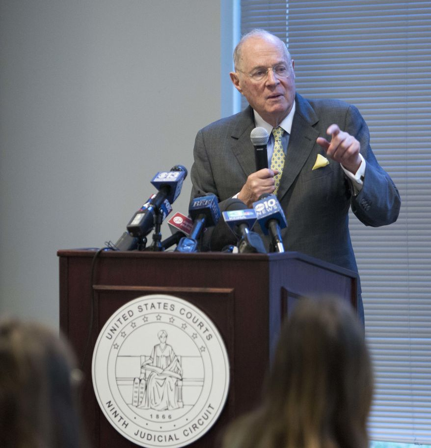 Former U.S. Supreme Court Justice Anthony Kennedy delivers the keynote speech during a luncheon held for high school civics students in Sacramento, Calif., on Friday, Sept. 28, 2018. (AP Photo/Steve Yeater)