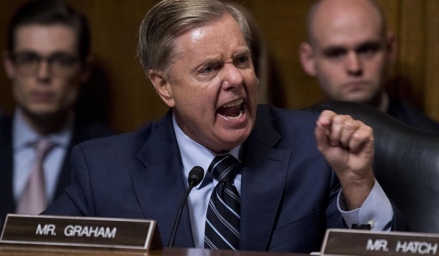 Sen. Lindsey Graham, R-S.C., points as Democrats as he defends Supreme Court nominee Brett Kavanaugh at the Senate Judiciary Committee on Capitol Hill in Washington, Thursday, Sept. 27, 2018. (Tom Williams/Pool Image via AP)