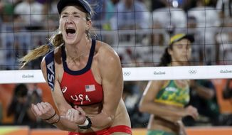 FILE - In this Aug. 17, 2016, file photo, United States' Kerri Walsh Jennings reacts while playing Brazil during the women's beach volleyball bronze medal match of the 2016 Summer Olympics in Rio de Janeiro, Brazil. The five-time Olympian and three-time beach volleyball gold medalist is one of the founders of the p1440 tour, a sports and lifestyle festival that will hold its first event. In addition to playing, and planning to win, she is also helping to run the event.  (AP Photo/Marcio Jose Sanchez, File)
