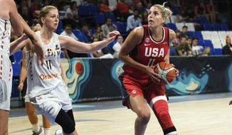 Elena Delle Donne of the United States drives the ball during the Women's basketball World Cup semi final match between Belgium and the U.S.A. in Tenerife, Spain, Saturday Sept. 29, 2018. (AP Photo Andres Gutierrez) ** FILE **
