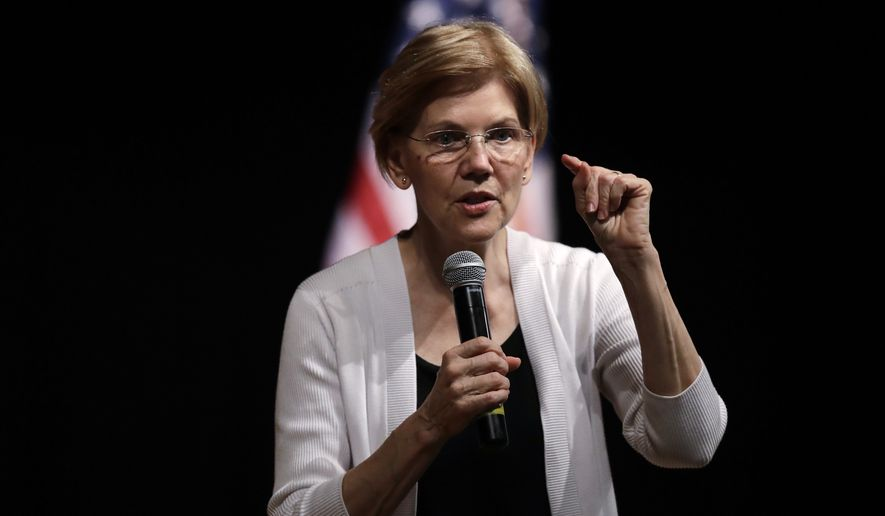FILE - In this Wednesday, Aug. 8, 2018 file photo, U.S. Sen. Elizabeth Warren, D-Mass., speaks during a town hall style gathering in Woburn, Mass. (AP Photo/Charles Krupa) ** FILE **