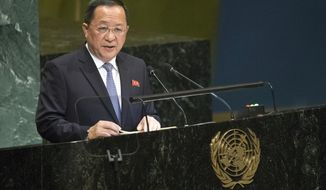 North Korean Foreign Minister Ri Yong Ho addresses the 73rd session of the United Nations General Assembly,Saturday, Sept. 29, 2018 at U.N. headquarters. (AP Photo/Mary Altaffer)