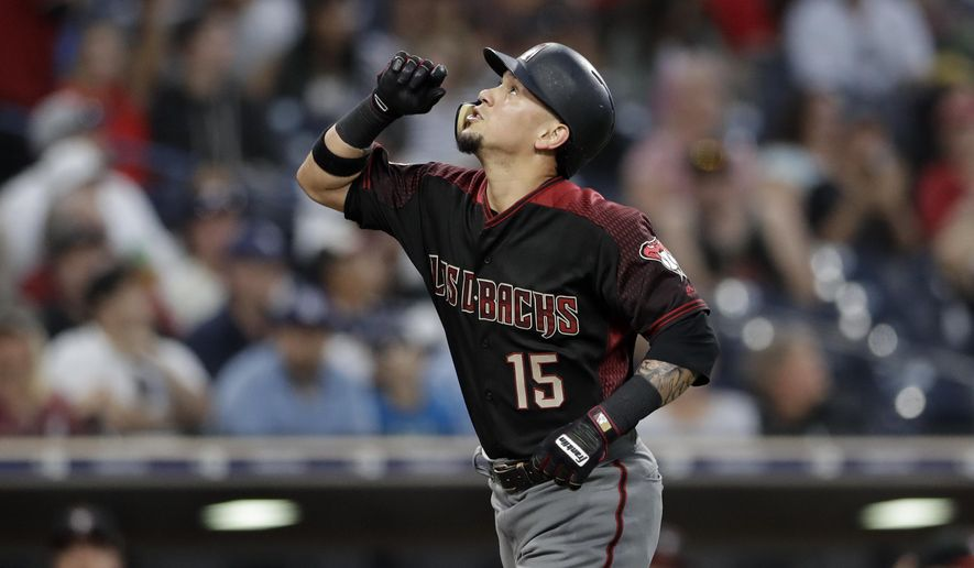 Arizona Diamondbacks' Ildemaro Vargas reacts after hitting a two-run home run during the fourth inning of a baseball game against the San Diego Padres Saturday, Sept. 29, 2018, in San Diego. (AP Photo/Gregory Bull)