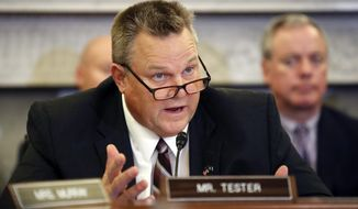 "In this Wednesday, Sept. 26, 2018 file photo, Ranking Member Sen. Jon Tester, D-Mont., speaks during a hearing of the Senate Committee on Veterans' Affairs, on Capitol Hill, in Washington, D.C. U.S. Senate candidate Matt Rosendale says Supreme Court nominee Brett Kavanaugh is an ""honorable man"" and blames Democrats, including Montana Sen. Tester, for slowing the judge's confirmation over sexual assault allegations. (AP Photo/Alex Brandon, File)"