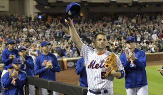 New York Mets third baseman David Wright (5) acknowledges the fans as he leaves the field after coming out of a baseball game during the fifth inning against the Miami Marlins, Saturday, Sept. 29, 2018, in New York. (AP Photo/Bill Kostroun)