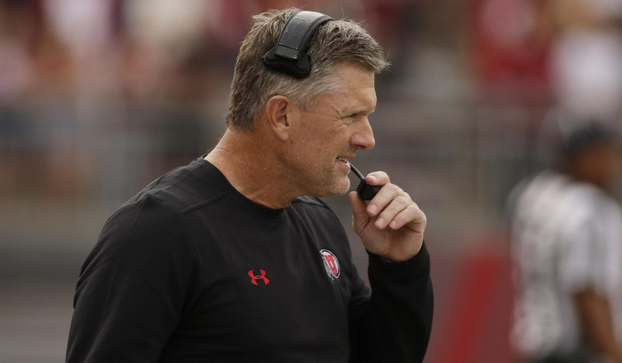 Utah head coach Kyle Whittingham looks on during the first half of an NCAA college football game against Washington State in Pullman, Wash., Saturday, Sept. 29, 2018. (AP Photo/Young Kwak)
