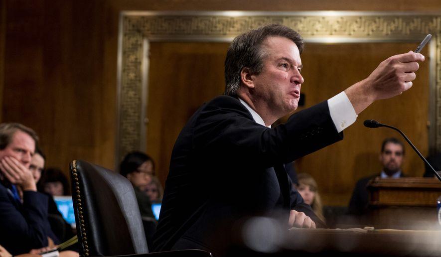Supreme Court nominee Brett Kavanaugh testifies before the Senate Judiciary Committee on Capitol Hill in Washington, Thursday, Sept. 27, 2018.  (Tom Williams/Pool Image via AP)