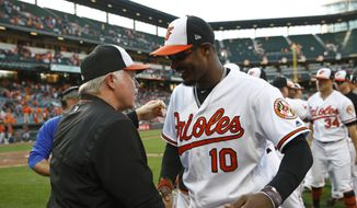 Baltimore Orioles manager Buck Showalter, left, speaks with center fielder Adam Jones after a baseball game against the Houston Astros, Sunday, Sept. 30, 2018, in Baltimore. Baltimore won 4-0. (AP Photo/Patrick Semansky)