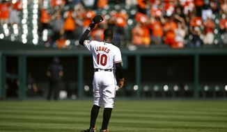 Baltimore Orioles center fielder Adam Jones tips his cap as fans cheer for him before a baseball game against the Houston Astros, Sunday, Sept. 30, 2018, in Baltimore. (AP Photo/Patrick Semansky)