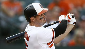 Baltimore Orioles' Trey Mancini singles in the fourth inning of a baseball game against the Houston Astros, Sunday, Sept. 30, 2018, in Baltimore. Jonathan Villar scored on the play. (AP Photo/Patrick Semansky) ** FILE **
