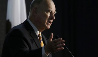 In this June 29, 2018, file photo, California Gov. Jerry Brown speaks at a forum in Sacramento, Calif. Brown signed the nation's toughest net neutrality measure Sunday, Sept. 30, requiring internet providers to maintain a level playing field online. (AP Photo/Rich Pedroncelli, File)