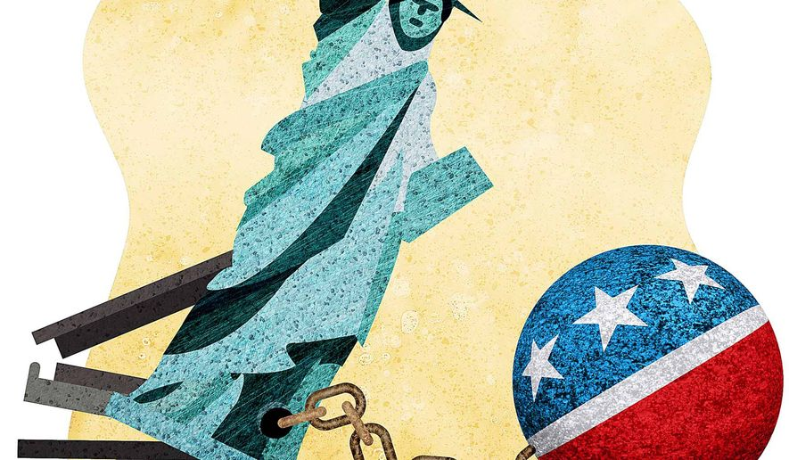 Tightening Shackles Illustration by Greg Groesch/The Washington Times