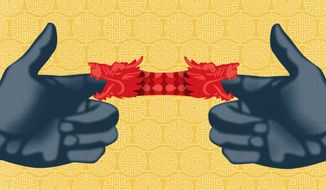 """Illustration on China's """"Imperial Project"""" by Linas Garsys/The Washington Times"""