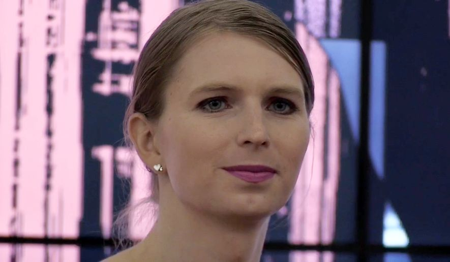Whistleblower Chelsea Manning making her first U.K. public appearance at the Royal Institute, where she said she sees a lot of similarities between prison and the modern world,  in central London, Monday, Oct. 1, 2018. (PA via AP)