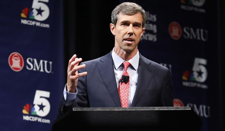 """FILE - In this Friday, Sept. 21, 2018 file photo, Democratic U.S. Representative Beto O'Rourke takes part in in a debate for the Texas U.S. Senate with Republican U.S. Sen. Ted Cruz, in Dallas. O'Rourke is apologizing for writing in Columbia University's student newspaper nearly 30 years ago that a Broadway musical featured actresses """"whose only qualifications seem to be their phenomenally large breasts and tight buttocks."""" O'Rourke said Monday, Oct. 1, 2018, that he was """"ashamed"""" and that there was no excuse for """"demeaning comments about women.""""  (Tom Fox/The Dallas Morning News via AP, Pool, File)"""