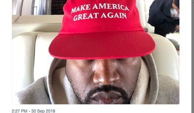 "Entertainer and entrepreneur Kanye West sports a ""MAGA"" hat in a tweet published Sept. 30, 2018. His attached message regarding the Trump administration and American culture prompted actor Chris Evans to call him ""retrogressive"" and ""terrifying."" (Image: Twitter, Kanye West)"