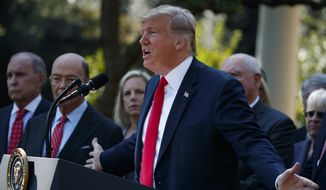 President Donald Trump speaks during a news conference on trade between the United States, Canada, and Mexico, and the nomination of Brett Kavanaugh to the Supreme Court, in the Rose Garden of the White House, Monday, Oct. 1, 2018, in Washington. (AP Photo/Evan Vucci)