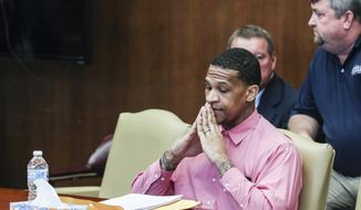 Quinton Tellis is seen during the seventh day of the his retrial on Monday, Oct. 1, 2018, in Batesville, Miss. The jury could not reach a unanimous decision which resulted in a mistrial.(Brad Vest/The Commercial Appeal via AP)