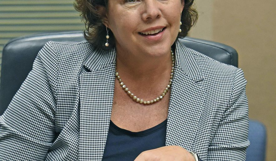 """In this Sept. 25, 2018 photo, Cheri Schoenfish pauses in Bismarck, N.D.  Schoenfish is heading back to the private sector, and the state is looking for her successor. Brought on a year ago as part of Gov. Doug Burgum's theme of """"reinventing"""" government,  Schoenfish says the No. 1 question people ask her is what her job entails. (Tom Stromme/The Bismarck Tribune via AP)"""