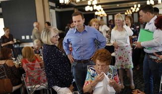 """File - In this Aug. 28, 2018 file photo, Nevada state Attorney General Adam Laxalt, center, meets with members of the Southern Hills Republican Women's Club in Henderson, Nev. The Republican gubernatorial candidate said Saturday, Sept. 29, 2018, he was a """"reckless and foolish"""" teen when he was arrested for assaulting a police officer more than 20 years ago in Virginia. Records obtained by the Reno Gazette Journal from the city of Alexandria show the Nevada attorney general was taken into custody for underage drinking in 1996. (AP Photo/John Locher, File)"""
