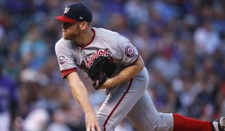 Washington Nationals starting pitcher Stephen Strasburg works against the Colorado Rockies in the first inning of a baseball game Saturday, Sept. 29, 2018, in Denver. (AP Photo/David Zalubowski) ** FILE **