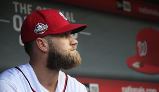 FILE - In this Sept. 26, 2018, file photo, Washington Nationals' Bryce Harper, looks at the baseball field from their dug out before the start of the Nationals last home game of the season against the Miami Marlins, in Washington. Not only didn't the Nationals get over the hump _ those spring training camels, notwithstanding _ they didn't even make the playoffs. And now the question looming over the franchise becomes whether Bryce Harper will leave as a free agent. (AP Photo/Manuel Balce Ceneta) ** FILE **