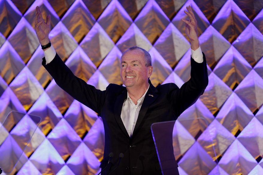New Jersey Gov. Phil Murphy reacts to the applause as he arrives for a speech in Nutley, N.J., Monday, Oct. 1, 2018. Murphy is proposing revamping the state's expiring tax incentive programs as well as pushing a host of other programs to spur the economy. (AP Photo/Seth Wenig)