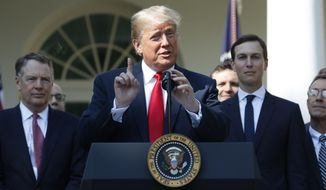 President Donald Trump speaks as he announces a revamped North American free trade deal, in the Rose Garden of the White House in Washington, Monday, Oct. 1, 2018. The new deal, reached just before a midnight deadline imposed by the U.S., will be called the United States-Mexico-Canada Agreement, or USMCA. It replaces the 24-year-old North American Free Trade Agreement, which President Donald Trump had called a job-killing disaster. (AP Photo/Pablo Martinez Monsivais)