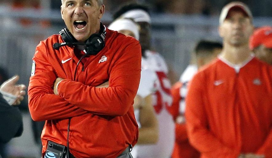 Ohio State head coach Urban Meyer, reacts after Penn State gets a first down during the first half of an NCAA college football game in State College, Pa., Saturday, Sept. 29, 2018. (AP Photo/Chris Knight)
