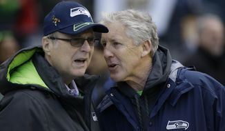 FILE--In this Jan. 18, 2015, file photo, Seattle Seahawks owner Paul Allen, left, talks to head coach Pete Carroll before the NFL football NFC Championship game against the Green Bay Packers in Seattle. Championship game in Seattle. The Billionaire Seahawks owner and Microsoft co-founder says cancer he was treated for in 2009 has returned. (AP Photo/David J. Phillip, file)
