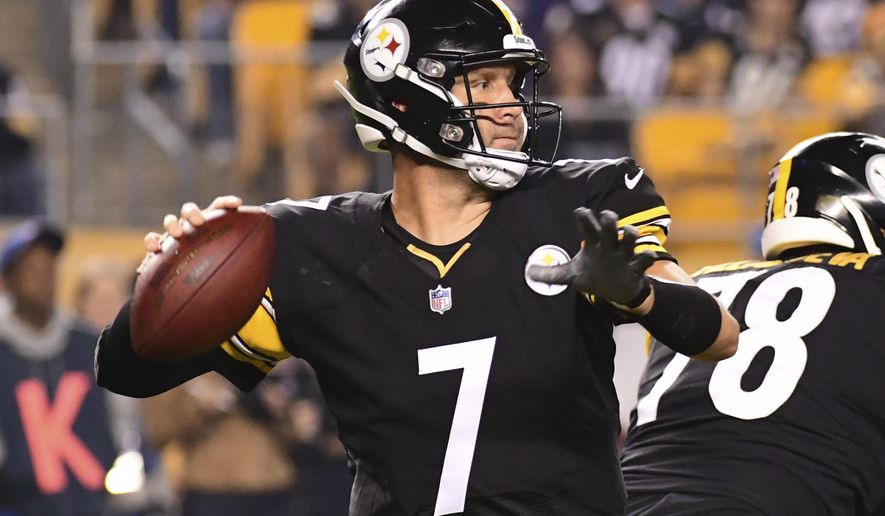 Pittsburgh Steelers quarterback Ben Roethlisberger (7) throws a pass in the first half of an NFL football game against the Baltimore Ravens in Pittsburgh, Sunday, Sept. 30, 2018. (AP Photo/Fred Vuich)