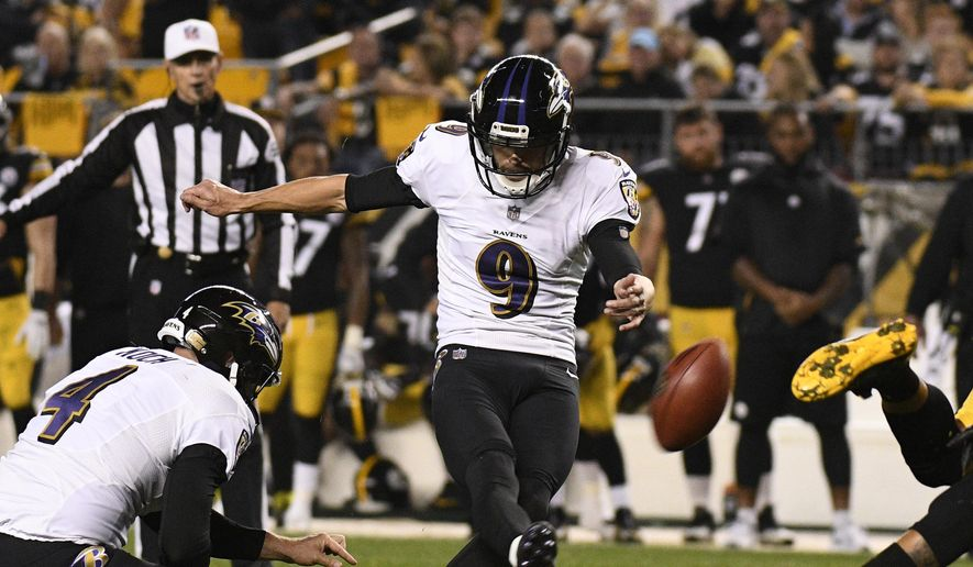 Baltimore Ravens kicker Justin Tucker (9) kicks a field goal during the second half of an NFL football game against the Pittsburgh Steelers in Pittsburgh, Sunday, Sept. 30, 2018. (AP Photo/Don Wright) **FILE**