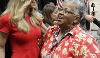 Lara Trump, left, is greeted by Ada Fisher, Republican National Committeewoman from North Carolina, right, after a news conference for the 2020 Republican National Convention in Charlotte, N.C., Monday, Oct. 1, 2018. The committee announced Aug. 24-27, 2020, as the dates for the convention. (AP Photo/Chuck Burton) ** FILE **