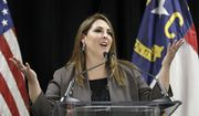 RNC Chairwoman Ronna McDaniel speaks during a news conference for the 2020 Republican National Convention in Charlotte, N.C., Monday, Oct. 1, 2018. The committee announced Aug. 24-27, 2020 as the dates for the convention. (AP Photo/Chuck Burton) ** FILE **