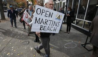 FILE - In this Tuesday, Dec. 6, 2016 file photo Howard Graves, a supporter of public access to Martin's Beach, carries his sign into a meeting of the State Lands Commission, in Sacramento, Calif. The Supreme Court is refusing to hear an appeal from a California billionaire who doesn't want to open a road on his property so that the public can access a beach. The justices said Monday, Oct. 1, 2018, that they will not take up Vinod Khosla's appeal of a California appeals court decision. The case had the potential to upend California's longstanding efforts to keep beaches open to the public. (AP Photo/Rich Pedroncelli,File)