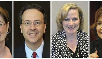 FILE - This combination of photos shows West Virginia state Supreme Court justices, from left, Robin Davis on Oct. 3, 2012, Allen Loughry on Oct. 3, 2012, Beth Walker on March 16, 2016, and Margaret Workman on Dec. 29, 2008. The four justices were impeached by the House of Delegates in August 2017. The cases targeted spending, including renovations to the justices' offices, and also raised questions about corruption, incompetence and neglect of duty. Walker's trial is set to start Monday, Oct. 1, 2018, in the state Senate. (Courtesy of the Charleston Gazette-Mail and The Daily Mail via AP, File)