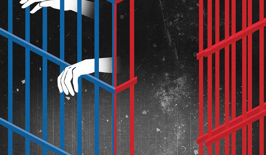 Illustration on prison reform by Linas Garsys/The Washington Times